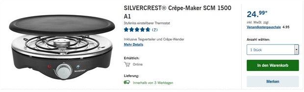 Silvercrest Crêpe-Maker als LIDL-Angebot ab 10.9.2015 für 24,99 €