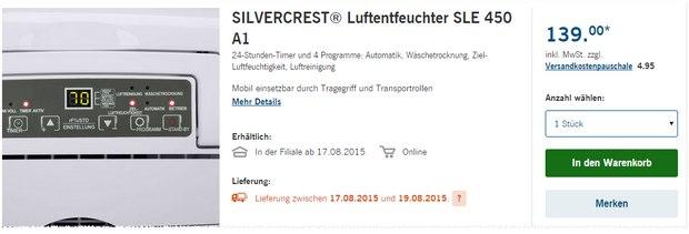 Silvercrest Luftentfeuchter SLE 450 A1 als LIDL-Angebot ab 17.8.2015 für 139 €