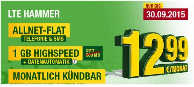 Smartmobil LTE-Hammer aus der Heino-Werbung: Allnet-Flat, SMS-Flat + 1 GB LTE für 12,99 € - monatlich kündbar