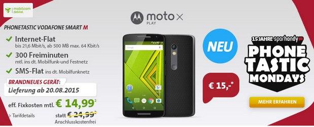 Sparhandy Phonetastic Mondays ab 10.8.2015 mit Phonetastic Vodafone Smart M und Motorola Moto X Play für 15 €