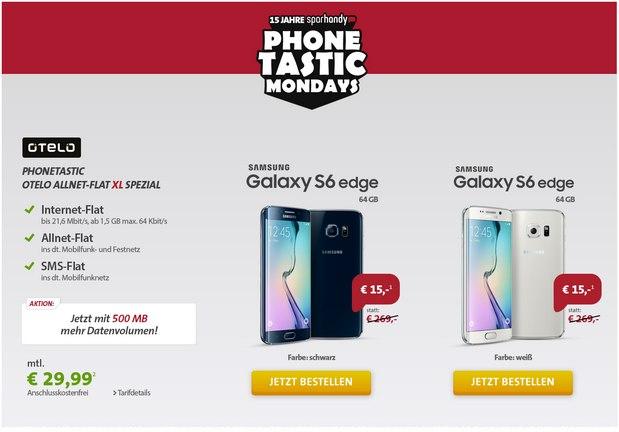 Sparhandy Phonetastic Mondays ab 31.8.2015: Otelo Allnet-Flat XL + Samsung Galaxy S6 Edge (64 GB) für 15 €