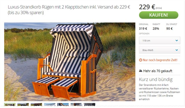 strandkorb als poco angebot ab 29 f r 169 tv. Black Bedroom Furniture Sets. Home Design Ideas