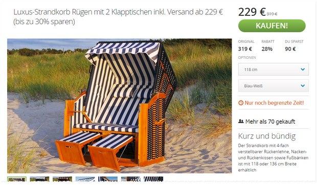 Rügen-Strandkorb bei Groupon für 229 €