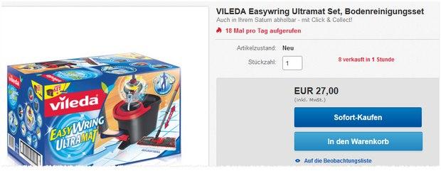 Vileda Wischer EasyWring Ultramat für 27 € bei Saturn