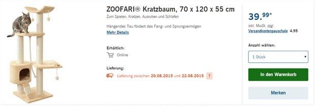 Zoofari Kratzbaum als LIDL-Angebot ab 20.8.2015 für 39,99 €