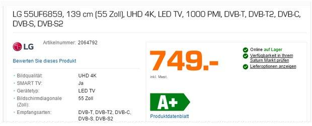 LG-55UF6859: 55-Zoll-Fernseher als Saturn-TV-Angebot ab 28.12.2015 (Montag) für 749 €