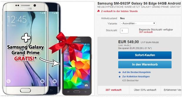 Samsung Galaxy S6 Edge kaufen und Grand Prime geschenkt bekommen