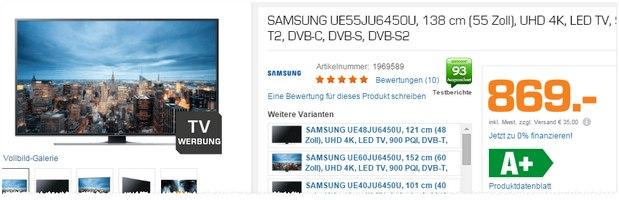 Samsung UE55JU6450U aus dem Saturn-Prospekt ab 28.9.2015 für 869 €
