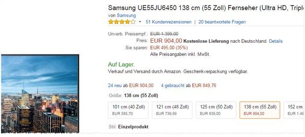 Samsung UE55JU6450U aus der Saturn-Werbung bei Amazon für 904 €