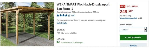WEKA SMART Flachdach-Einzelcarport San Remo 1