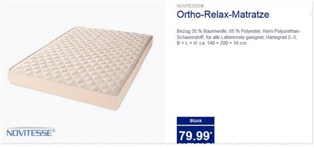 ALDI Novitesse Ortho-Relax-Matratze