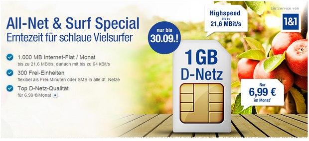 Allnet & Surf Special: GMX-Handyvertrag für 6,99 € im Vodafone-Netz, im E-Plus-Netz im ersten Jahr für 4,99 € mit LTE