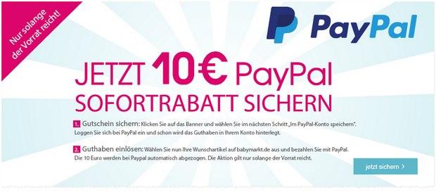 Babymarkt Gutschein: 10 € PayPal-Rabattcode ohne MBW
