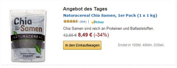 Chia Samen als Amazon-Tagesangebot nur 8,49 € im Kilo-Beutel