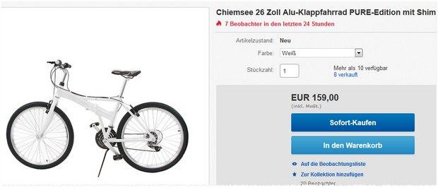 Mountainbike mit 21-Gang-Shimano-Schaltung: Chiemsee-Klappfahrrad mit Alu-Rahmen für 159 €