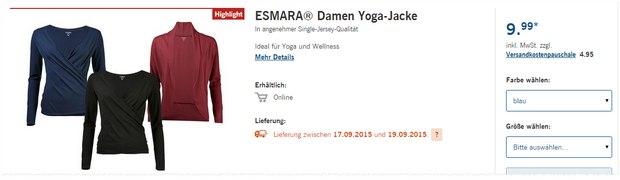 Esmara Yoga-Jacke, Hose und Shirt gibt's auch im Online-Shop bei LIDL im Angebot - schon jetzt