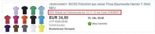 Inner Circle Outlet bei eBay: Der 30% Gutscheincode gilt auf viele Herbstmode-Artikel