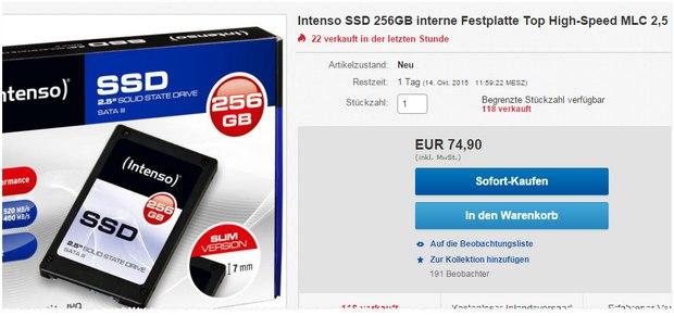 SSD Festplatte von Intenso mit 256 GB Speicher für 74,90 €