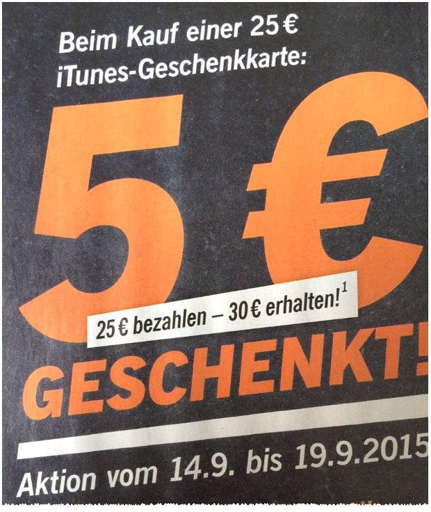 5 € geschenkt: iTunes-Guthaben günstig kaufen bei LIDL ab 14.9.2015: 30 € Guthabenkarte für 25 €
