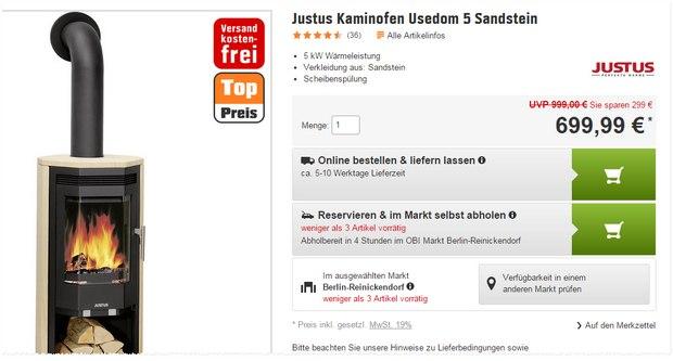 Justus Kaminofen Usedom bei OBI günstig und reduziert