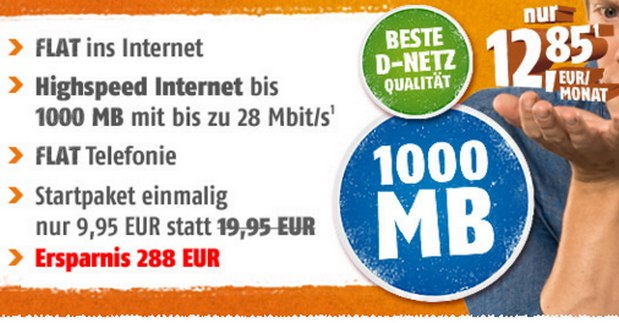 Klarmobil Allnet-Spar-Flat für 12,85 Euro bei Crash-Tarife mit 1 GB Internet-Flat