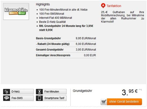 Klarmobil Allnet-Starter Aktion bei Handyflash für 3,95 €