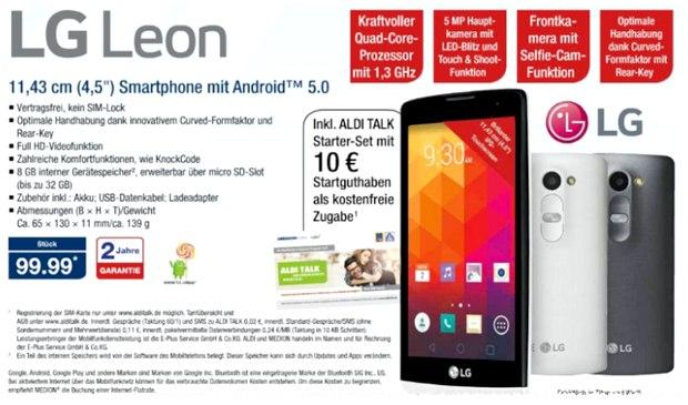 LG Leon als ALDI-Nord-Angebot ab 17.9.2015 für 99,99 € inkl. ALDI-TALK-SIM-Karte