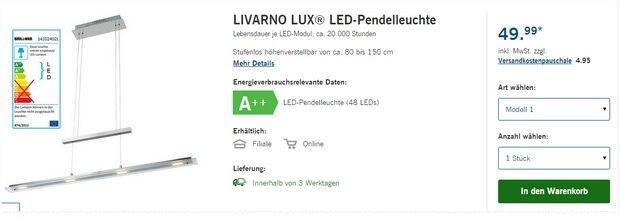 LIVARNO LUX Pendelleuchte als LIDL-Angebot ab 28.9.2015 für 49,99 € - Markenware von Briloner?