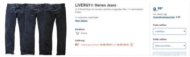 Livergy Jeans als LIDL-Angebot ab 14.9.2015: 5 Pocket Herren-Jeans für 9,99 €