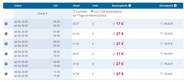 L'TUR Bahn-Tickets