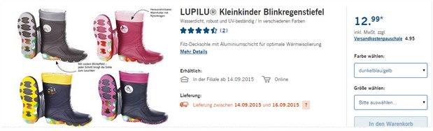 Die blinkenden Lupilu-Regenstiefel dürften auch im Regen Spaß machen
