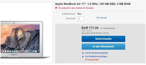 MacBook Air (11,6 Zoll) bei Gravis für 777 € - habt ihr noch den 10% Gutschein (gültig bis 30.9.2015) von eBay erhalten? Dann würden sogar nur 699,30 € fällig