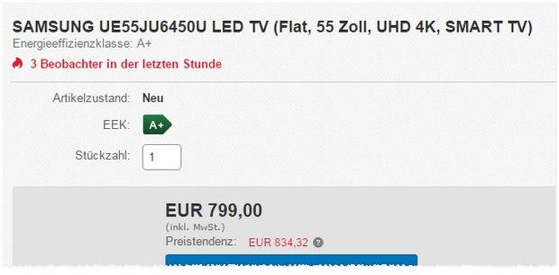 Media Markt Schnapp des Tages am 2.11.2015? Samsung UE55JU6450U für 799 €?