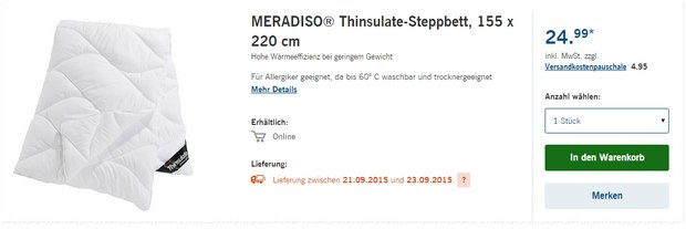 Meradiso Thinsulate-Steppbetten als LIDL-Angebot ab 21.9.2015 - ab 19,99 €