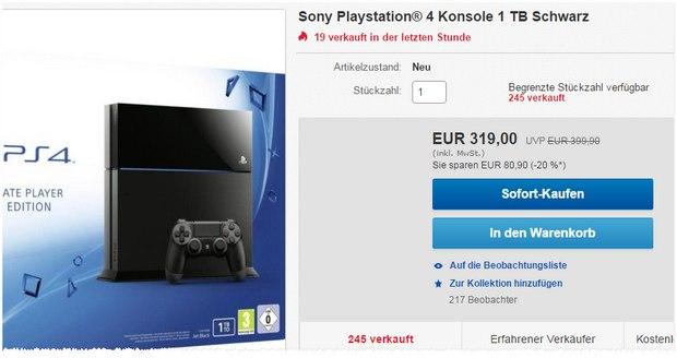 Nackte PlayStation 4 + Controller für 319 €