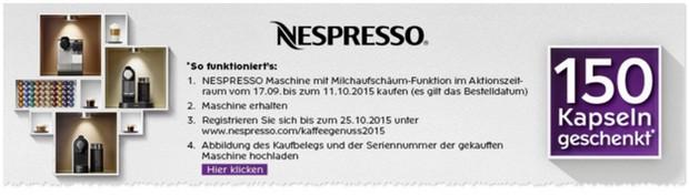 Nespresso Cashback-Aktion