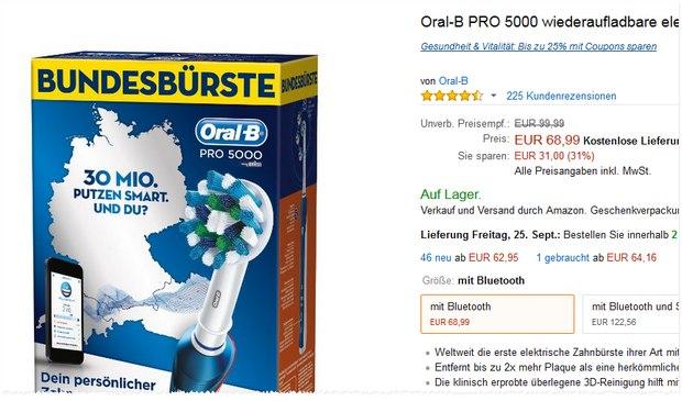 Oral-B Pro 5000: Die Bundesbürste kostet aktuell bei Amazon 68,99 €