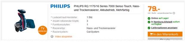 Philips Rasierer RQ1175 als Saturn Angebot für 79 Euro in der TV-Werbung