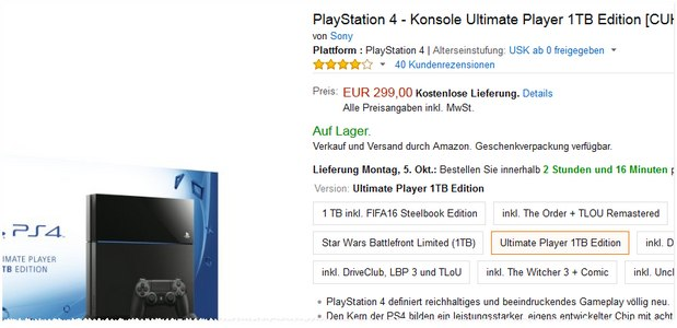 PlayStation 4 Ultimate Player (1 TB) für 299 Euro