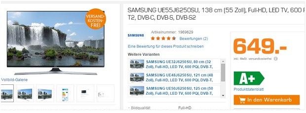 """Samsung UE55JU6250SU: 55"""" Fernseher aus der Saturn-Werbung für 649 € (Prospekt)"""