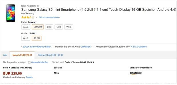 Samsung Galaxy S5 mini als Amazon Konter-Deal