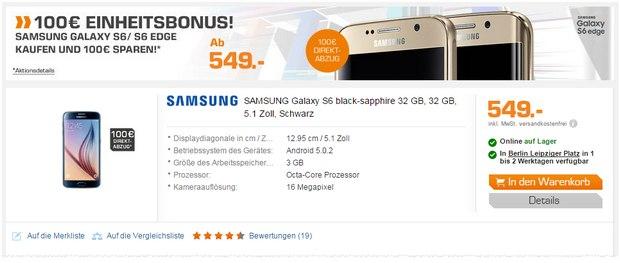 Samsung Galaxy S6 ohne Vertrag mit 100 € Cashback exklusiv als Direktabzug im Online-Shop
