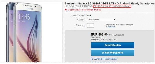 Samsung Galaxy S6 ohne Vertrag inkl. 100 € Einheitsbonus für 399 €