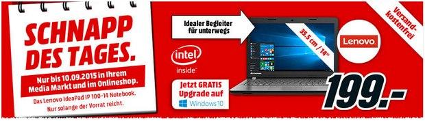 """Media Markt Schnapp des Tages am 10.9.2015 mit 14"""" Notebook Lenovo Ideapad IP 100-14 für 199 €"""