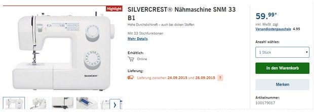 Silvercrest Nähmaschine SNM 33 B1 als LIDL-Angebot ab 24.9.2015 für 59,99 €