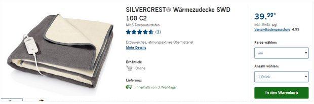 Silvercrest Wärmezudecke SWD 100 C2 als LIDL-Angebot ab 28.9.2015