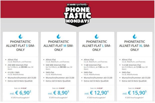 Sparhandy Phonetastic Mondays ab 28.9.2015: Sparhandy Allnet-Flats im D-Netz (Telekom) ab 6,90 € pro Monat