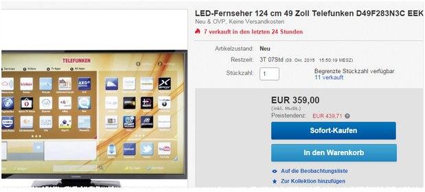 Telefunken D49F283N3C: 49-Zoll-Fernseher für 359 € als eBay-WOW-Deal