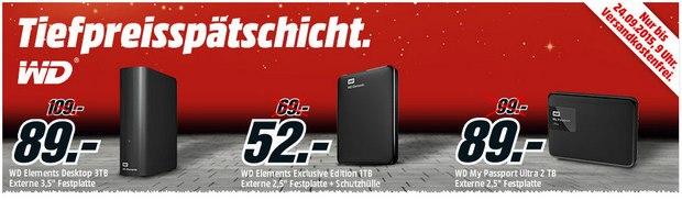 Tiefpreisspätschicht bei Media Markt am 23.9.2015 mit Western Digital Festplatten
