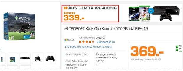 Xbox One aus der Saturn-Werbung mit Forza 6 + FIFA 16 für 339 €